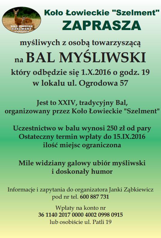Bal Myśliwski Koło łowieckie Kawka